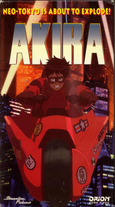 Akira on VHS. Starring Nozomu Sasaki, Mami Koyama, Mitsuo Iwata. Directed by Katsuhiro Otomo. 1988.