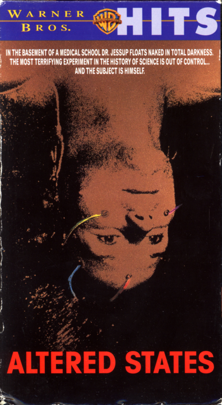 Altered States VHS cover art. Drama fantasy horror movie starring William Hurt, Blair Brown, Bob Balaban, Charles Haid. Based on the novel by Paddy Chayefsky. Directed by Ken Russell. 1980.