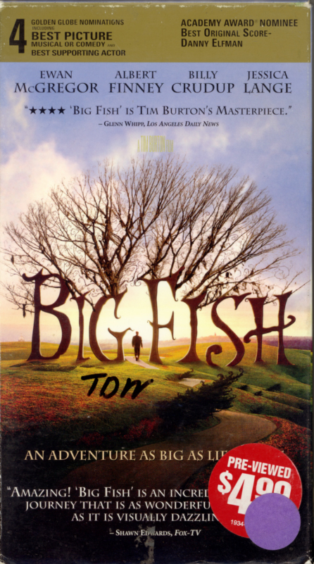 Big Fish VHS box cover art. Adventure drama fantasy movie starring Ewan McGregor, Albert Finney, Billy Crudup, Jessica Lange, Helena Bonham Carter, Alison Lohman, Robert Guillaume, Marion Cotillard. With Steve Buscemi, Danny DeVito, Deep Roy, Miley Cyrus. Directed by Tim Burton. 2003.