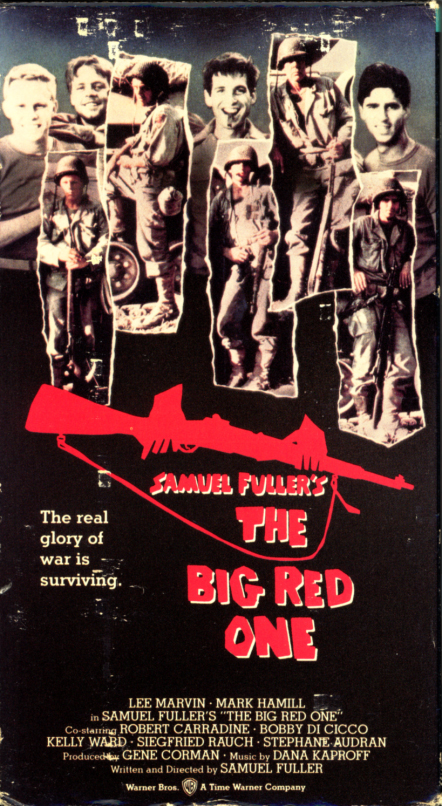 Samuel Fuller's The Big Red One on VHS. War movie starring Lee Marvin, Mark Hamill, Robert Carradine, Bobby Di Cicco, Kelly Ward, Siegfried Rauch, Stephane Audran. Directed by Samuel Fuller. 1980.