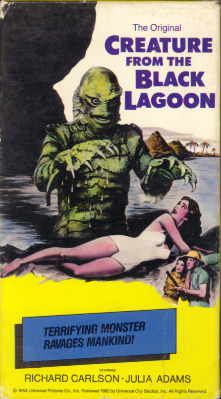 Creature From The Black Lagoon on VHS. Classic horror movie starring Richard Carlson, Julie Adams, Richard Denning, Antonio Moreno, Nestor Paiva, Whit Bissell. Special appearances by Ricou Browning, Ben Chapman. Directed by Jack Arnold. 1954.