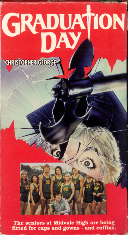 Graduation Day on VHS video. Horror movie starring Christopher George, Patch Mackenzie, E. Danny Murphy, E.J. Peaker, Michael Pataki. With Linnea Quigley, Vanna White. Directed by Herb Freed. 1981.