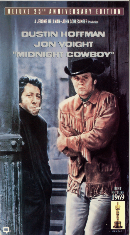 Midnight Cowboy VHS cover. Movie starring Dustin Hoffman, Jon Voight. With Brenda Vaccaro, John McGiver, Sylvia Miles, Ruth White, Barnard Hughes. Directed by John Schlesinger. 1969.