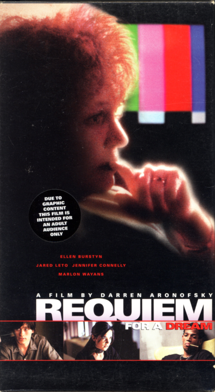 Requiem for a Dream VHS cover art. A 'For Your Consideration' copy with different cover. Movie starring Ellen Burstyn, Jared Leto, Jennifer Connelly, Marlon Wayans, Christopher McDonald. Based on the novel by Hubert Selby Jr. Directed by Darren Aronofsky. 2000.