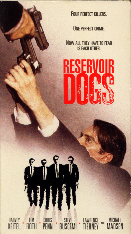 Reservoir Dogs on VHS. Movie starring Harvey Keitel, Tim Roth, Michael Madsen, Chris Penn, Steve Buscemi, Lawrence Tierney. Directed by Quentin Tarantino. 1992.