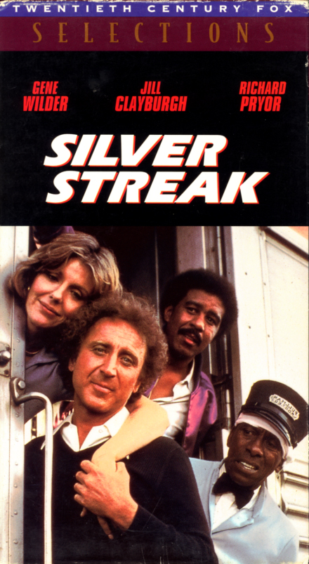 Silver Streak on VHS. Comedy, crime, action movie starring Richard Pryor, Gene Wilder, Jill Clayburgh. With Patrick McGoohan, Ned Beatty, Clifton James, Ray Walston, Scatman Crothers, Fred Willard, Richard Kiel. Directed by Arthur Hiller. 1976.