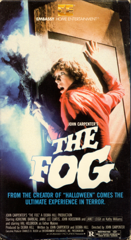 John Carpenter's The Fog on VHS. Horror movie starring Adrienne Barbeau, Jamie Lee Curtis, Janet Leigh, Hal Holbrook, John Houseman. Directed by John Carpenter. 1980.
