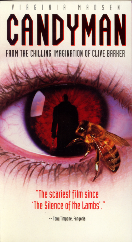 "Candyman on VHS. Horror movie starring Virginia Madsen, Xander Berkeley, Tony Todd, Kasi Lemmons. Based on ""The Forbidden"" by Clive Barker. Directed by Bernard Rose. 1992."