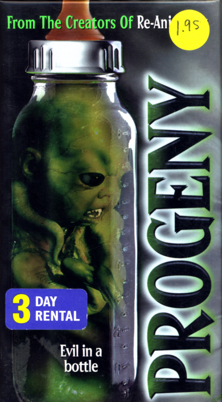 Progeny on VHS. Horror movie starring Arnold Vosloo, Jillian McWhirter, Brad Dourif. Directed by Brian Yuzna. 1998.