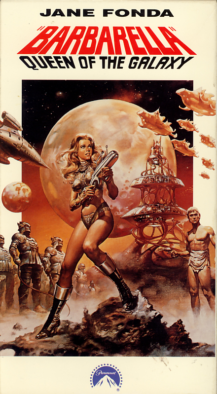 Barbarella, Queen of the Galaxy on VHS. Movie starring Jane Fonda, John Phillip Law, Anita Pallenberg, Milo O'Shea. With Marcel Marceau, Claude Dauphin. Directed by Roger Vadim. 1968.