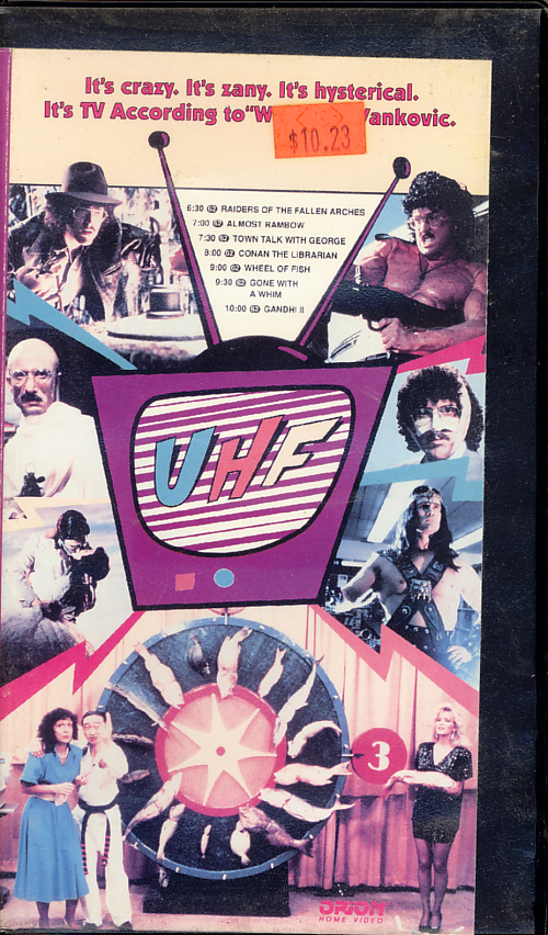 UHF VHS cover art. Starring 'Weird Al' Yankovic, Kevin McCarthy, Michael Richards, David Bowe, Victoria Jackson. With Billy Barty, Fran Drescher, Trinidad Silva. Directed by Jay Levey. 1989.