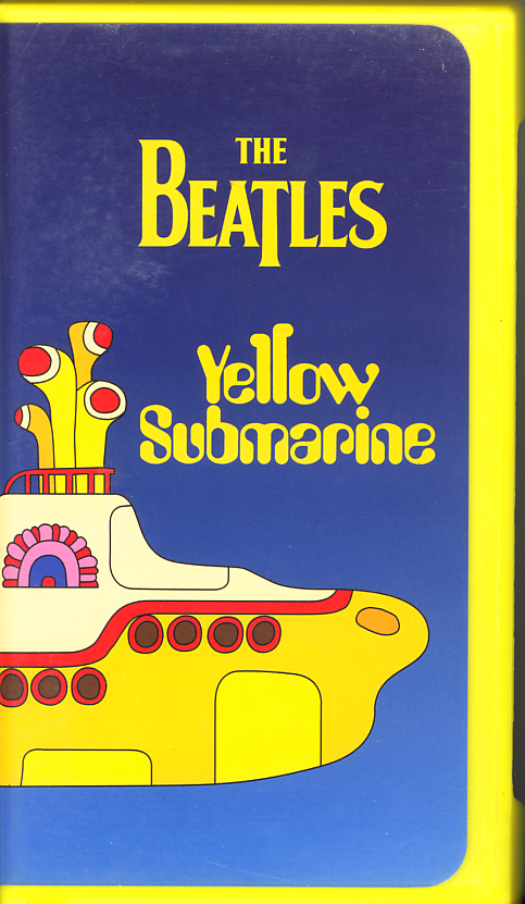 The Beatles: Yellow Submarine on VHS video. Starring John Lennon, Paul McCartney, George Harrison, Ringo Starr, Paul Angelis, John Clive. Directed by George Dunning. 1968.