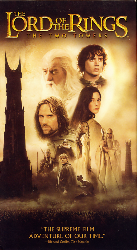 The Lord of the Rings: The Two Towers on VHS. Starring  Elijah Wood, Ian McKellen, Viggo Mortensen. With Christopher Lee, Brad Dourif, Sean Astin, Bruce Allpress, Andy Serkis. Directed by Peter Jackson. 2002.
