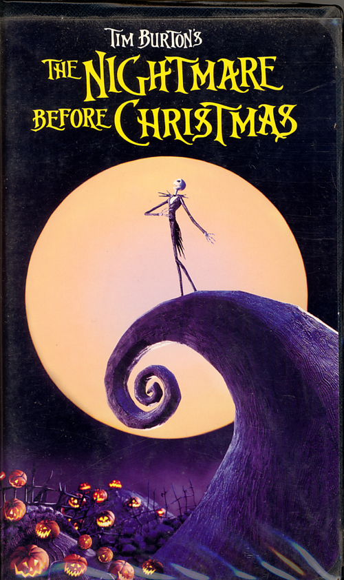 Tim Burton's The Nightmare Before Christmas on VHS video. Starring Danny Elfman, Chris Sarandon, Catherine O'Hara, William Hickey, Glenn Shadix, Paul Reubens, Ken Page. Written and produced by Tim Burton. Directed by Henry Selick.