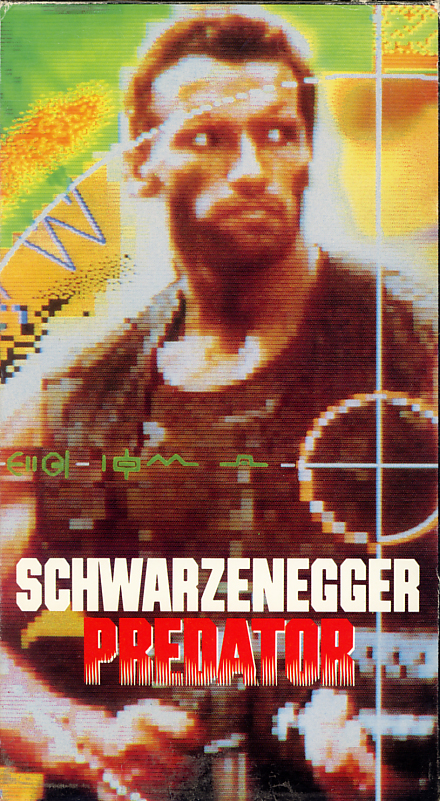 Predator on VHS. Starring  Arnold Schwarzenegger, Carl Weathers, Kevin Peter Hall. With Elpidia Carrillo, Bill Duke, Jesse Ventura, Sonny Landham. Directed by John McTiernan. 1987.