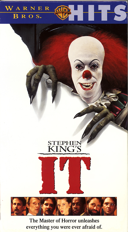 Stephen King's It on VHS video. Starring Richard Thomas, Tim Reid, Annette O'Toole, Tim Curry, Richard Masur, John Ritter, Harry Anderson, Dennis Christopher. Directed by Tommy Lee Wallace. 1990.