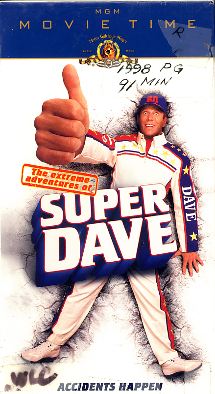 The Extreme Adventures Of Super Dave on VHS. Starring Bob Einstein, Dan Hedaya, Gia Carides. Directed by Peter MacDonald. 2000.