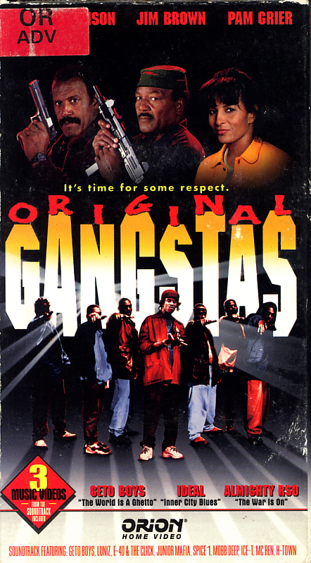 Original Gangstas on VHS. Starring Fred Williamson, Jim Brown, Pam Grier. With Paul Winfield, Isabel Sanford, Ron O'Neal, Richard Roundtree, Christopher B. Duncan, Dru Down, Shyheim Franklin. Directed by Larry Cohen, Fred Williamson. 1996.