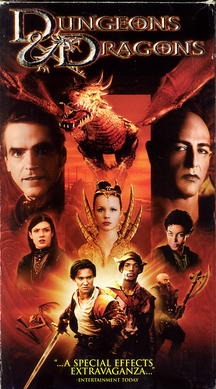 Dungeons & Dragons on VHS video. Starring Justin Whalin, Jeremy Irons, Zoe McLellan, Bruce Payne, Marlon Wayans, Thora Birch, Kristen Wilson, Lee Arenberg. Based on the game by Gary Gygax. Directed by Courtney Solomon. 2000.