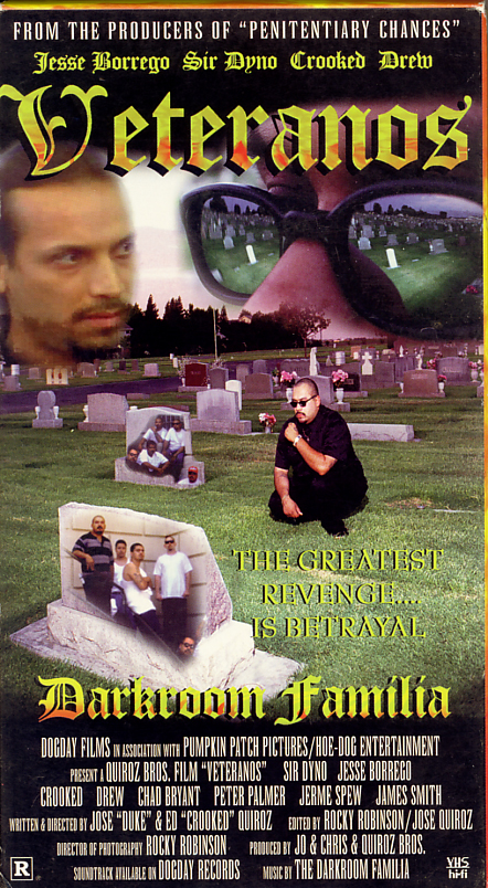 Veteranos on VHS. Starring David Dyno Rocha, Eduardo Quiroz, Drew Toxtero, Chad Bryant, Peter Scott Palmer, Jose Quiroz, James M. Logan, David Lezama, Jerme Spew, Jesse Borrego. Written and directed by Eduardo Quiroz, Jose Quiroz. 1998.