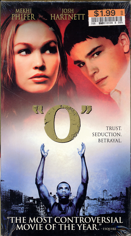 O the movie sealed VHS box cover art scan. Starring  Mekhi Phifer, Julia Stiles, Martin Sheen, Josh Hartnett. Based on Othello by William Shakespeare. Directed by Tim Blake Nelson. 2001.