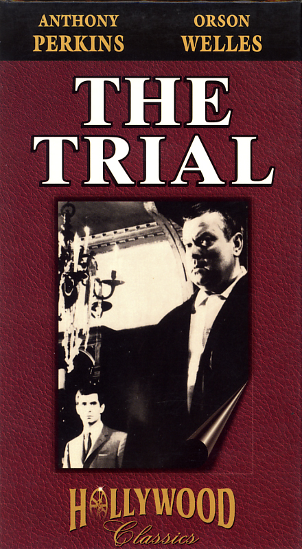 The Trial on VHS. Movie starring Anthony Perkins, Orson Welles. With Arnoldo Foa, Jess Hahn, Jeanne Moreau, Romy Schneider, Elsa Martinelli. Based on the novel by Franz Kafka. Directed by Orson Welles. 1962.