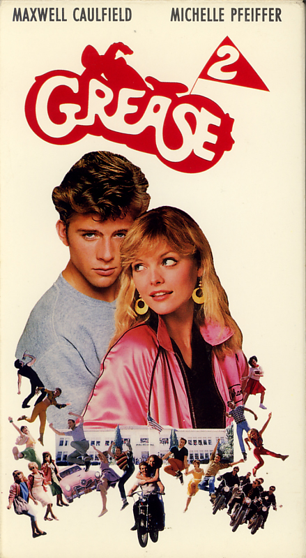 Grease 2 on VHS. Movie starring Michelle Pfeiffer, Maxwell Caulfield, Adrian Zmed. With Tab Hunter, Sid Caesar, Eve Arden, Didi Conn, Christopher McDonald, Lorna Luft, Maureen Teefy. Directed by Patricia Birch. 1982.