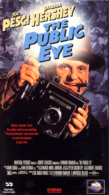 The Public Eye movie VHS box cover scan. Movie starring Joe Pesci and Barbara Hershey. With Richard Riehle, Stanley Tucci, Jerry Adler, Jared Harris. Directed by Howard Franklin. 1992.