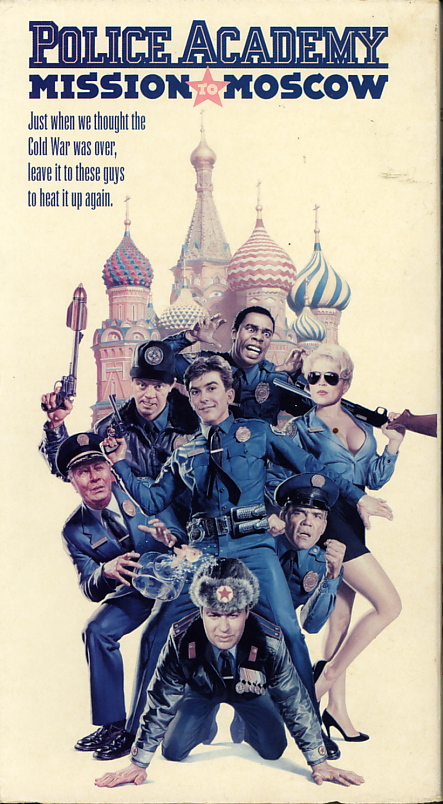 Police Academy: Mission To Moscow on VHS. Movie starring George Gaynes, Michael Winslow, David Graf, Leslie Easterbrook, Claire Forlani, Ron Perlman, Christopher Lee, Charlie Schlatter, G.W. Bailey. Directed by Alan Metter. 1994.