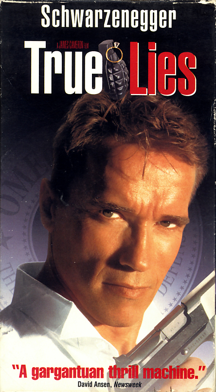 True Lies on VHS video. Movie starring Arnold Schwarzenegger, Jamie Lee Curtis, Tom Arnold, Bill Paxton, Tia Carrere, Art Malik, Eliza Dushku, Grant Heslov, Charlton Heston. Directed by James Cameron. 1994.