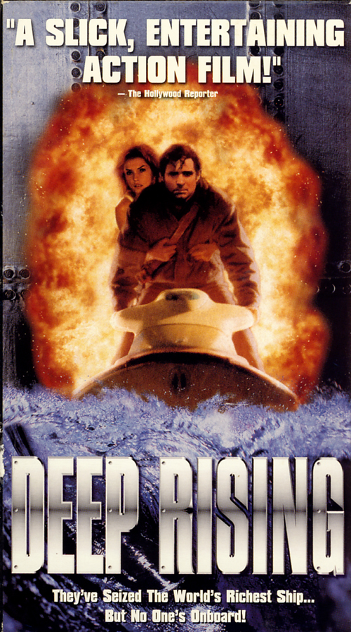 Deep Rising on VHS. Movie starring Treat Williams, Famke Janssen, Anthony Heald. Directed by Stephen Sommers. 1998.