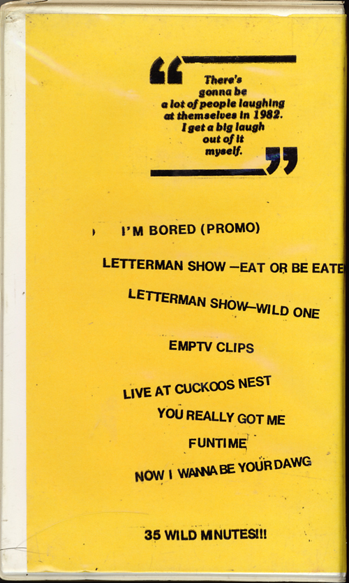 Iggy Pop on VHS. Starring Iggy Pop, David Letterman. 1980s. Back cover song listings.
