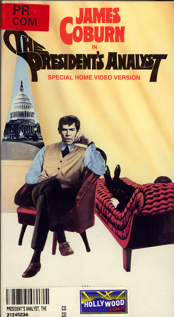 The President's Analyst on VHS video. Starring James Coburn, Godfrey Cambridge, Severn Darden. Directed by Theodore J. Flicker. 1967.