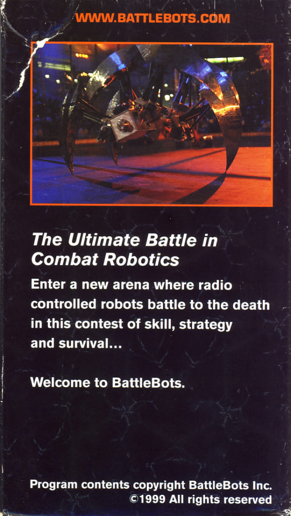 BattleBots 1999 World Championship Las Vegas VHS back cover